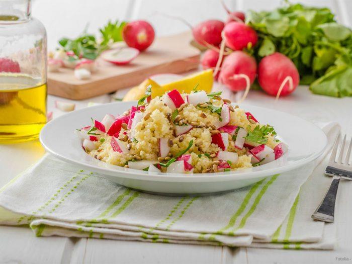 Recette salade de semoule radis rose, citron et menthe - Le Renard